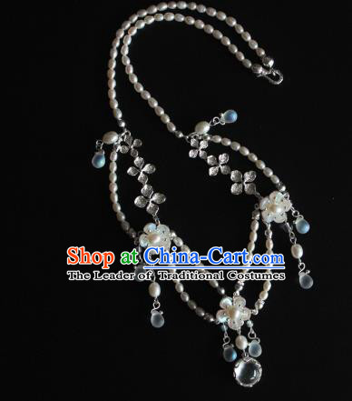 Chinese Ancient Handmade Hanfu Necklace Accessories Pearls Necklet for Women