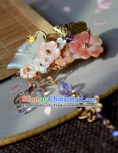 Chinese Ancient Handmade Hair Stick Classical Hair Accessories Hanfu Shell Butterfly Hairpins for Women