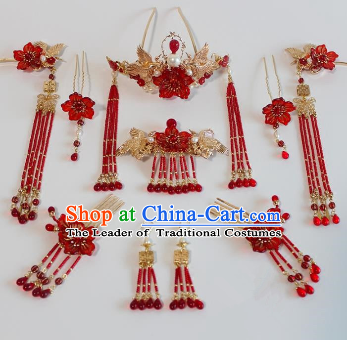 Chinese Ancient Handmade Classical Red Beads Tassel Hair Clip Hair Accessories Hanfu Hairpins Complete Set for Women