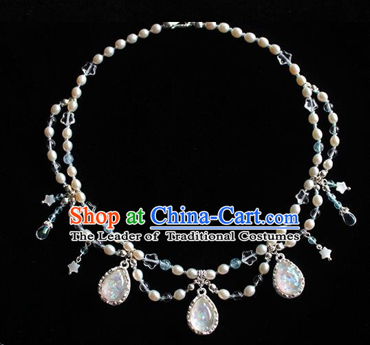 Chinese Ancient Handmade Hanfu Pearls Necklace Accessories Necklet for Women