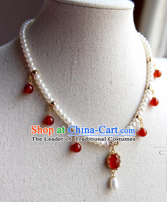 Chinese Ancient Handmade Classical Red Agate Conophytum Pucillum Accessories Hanfu Necklace for Women