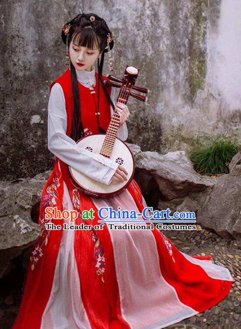 Chinese Ancient Maidservants Costume Traditional Ming Dynasty Nobility Lady Embroidered Green Hanfu Dress for Women