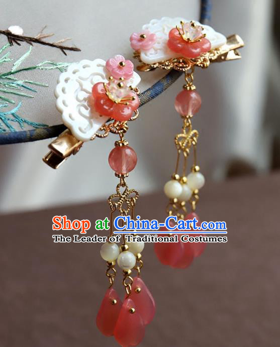 Chinese Ancient Handmade Shell Tassel Hair Stick Classical Hair Accessories Hanfu Hairpins for Women