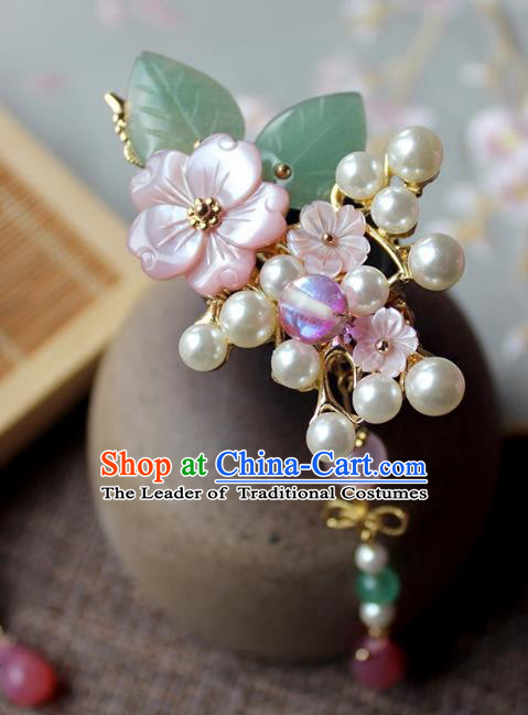 Chinese Ancient Handmade Pearls Tassel Hair Stick Classical Hair Accessories Hanfu Hairpins for Women