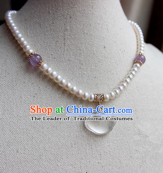 Chinese Ancient Handmade Classical Accessories Hanfu Pearls Necklace for Women