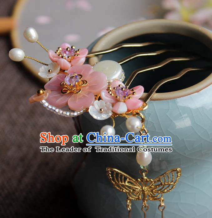 Chinese Ancient Handmade Pearls Hair Comb Classical Hair Accessories Hanfu Shell Hairpins for Women