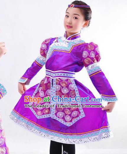 Chinese Mongol Nationality Costume Purple Mongolian Robe Traditional Mongolian Minority Dress for Kids