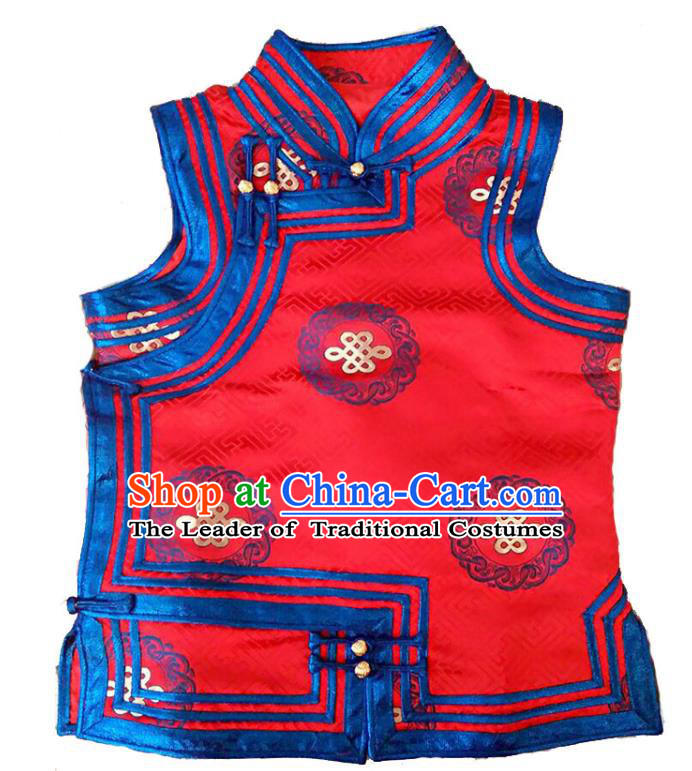 Chinese Mongol Nationality Red Vest Costume Traditional Mongolian Minority Dress for Women