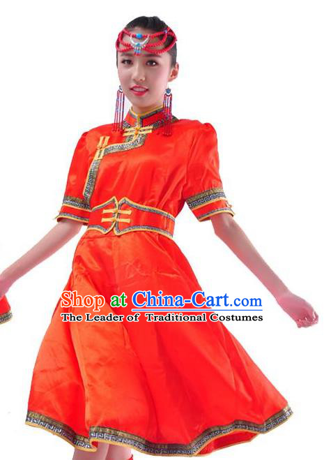 Chinese Mongol Nationality Costume Red Dress Traditional Mongolian Minority Clothing for Women