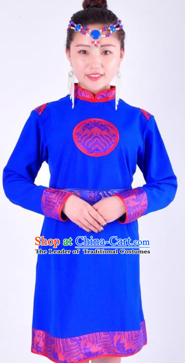 Chinese Mongol Nationality Costume Traditional Mongolian Minority Blue Dress for Women