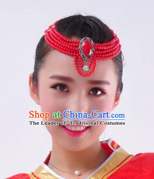 Chinese Handmade Mongol Nationality Hair Accessories Mongolian Red Beads Hair Clasp for Women