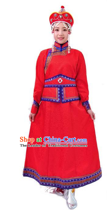 Chinese Mongol Nationality Costume Wedding Red Dress Traditional Mongolian Minority Clothing for Women