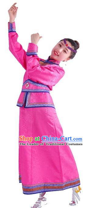 Chinese Mongol Nationality Costume Wedding Rosy Dress Traditional Mongolian Minority Clothing for Women