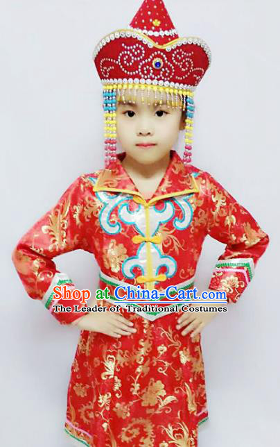 Chinese Mongol Nationality Costume Red Mongolian Robe Traditional Mongolian Minority Clothing for Kids
