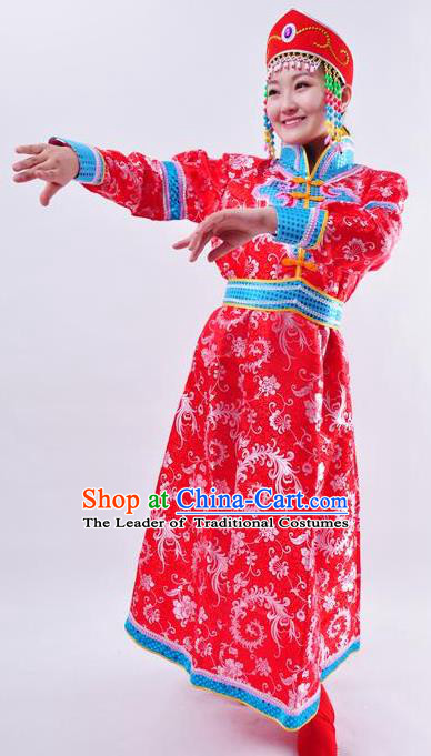 Chinese Mongol Nationality Wedding Costume Red Mongolian Robe Traditional Mongolian Minority Clothing for Women
