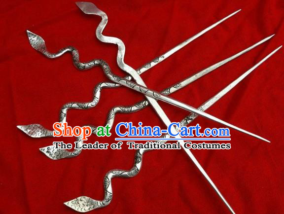 Chinese Traditional Miao Nationality Hair Accessories, Hmong Sliver Snake Hairpins Headwear for Women