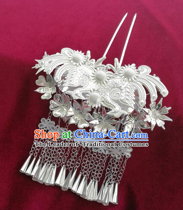 Chinese Traditional Miao Nationality Hair Accessories, Hmong Sliver Bells Tassel Hairpins Headwear for Women