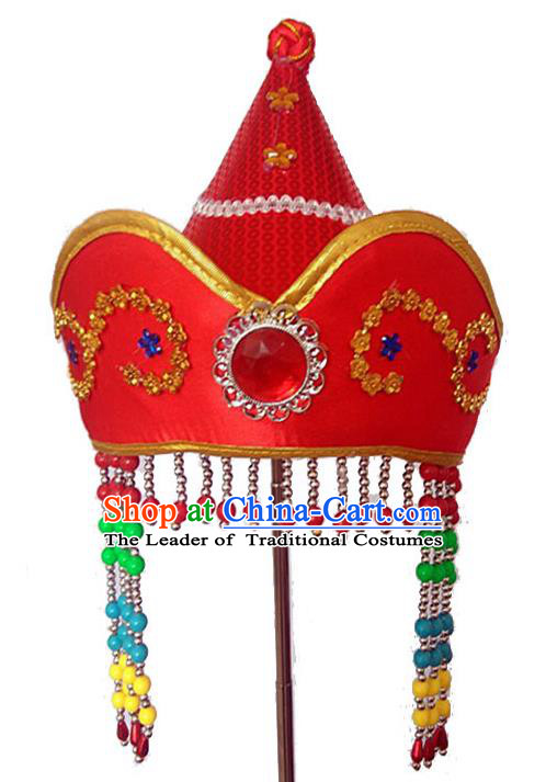 Chinese Handmade Mongol Nationality Hats Mongolian Red Hats for Kids