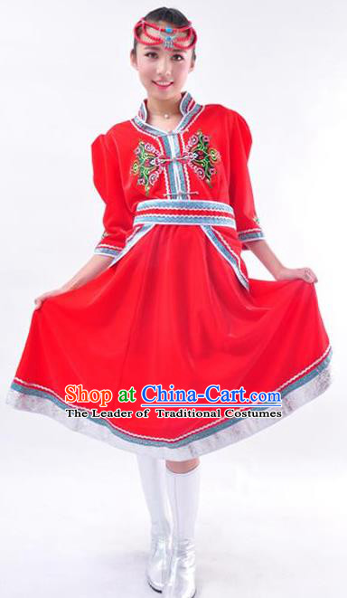 Chinese Mongol Nationality Folk Dance Costume Traditional Minority Red Mongolian Dress for Women