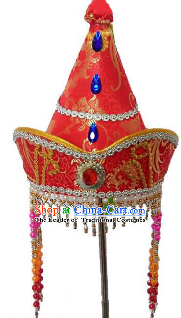 Chinese Handmade Mongol Nationality Hats Mongolian Princess Red Hats for Kids
