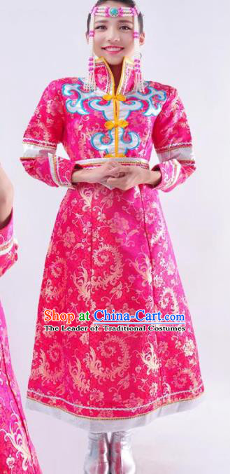 Chinese Mongol Nationality Wedding Costume Pink Mongolian Dress Traditional Mongolian Minority Clothing for Women