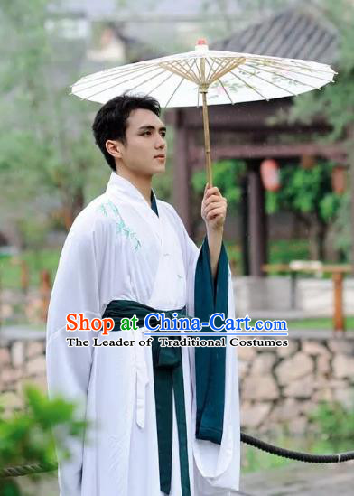 Chinese Ancient Swordsman Clothing Traditional Han Dynasty Scholar Embroidered Bamboo Costume for Men