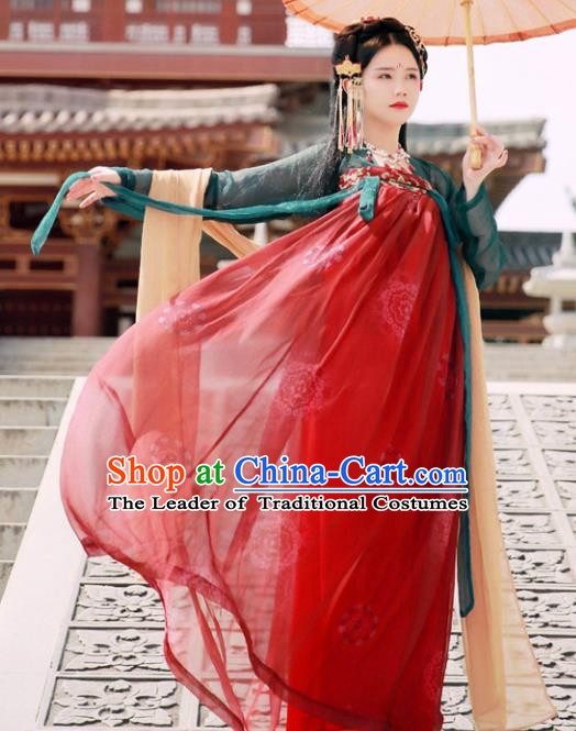 Ancient Chinese Tang Dynasty Imperial Consort Embroidered Hanfu Dress for Women