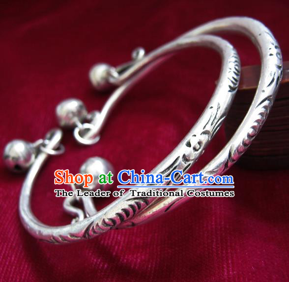 Chinese Miao Nationality Silver Ornaments Traditional Hmong Handmade Carving Bracelets for Women
