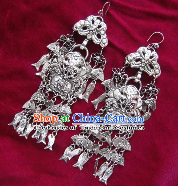 Chinese Handmade Miao Nationality Jewelry Accessories Hmong Sliver Fishes Tassel Earrings for Women