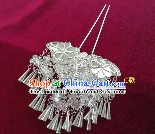 Chinese Traditional Miao Nationality Hair Accessories Hmong Sliver Bells Tassel Hairpins for Women