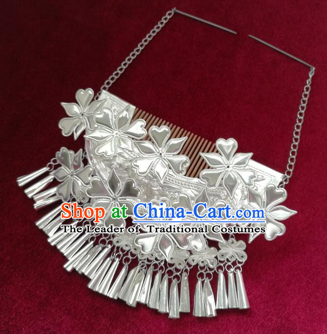 Chinese Traditional Miao Nationality Hair Accessories Flowers Hair Comb Hmong Sliver Bells Tassel Hairpins for Women