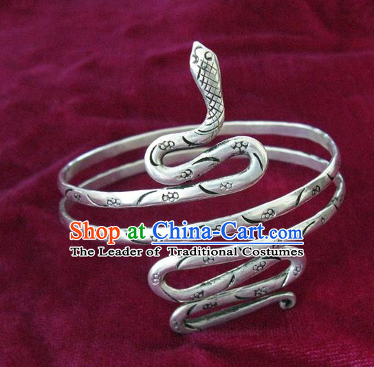 Chinese Miao Nationality Silver Ornaments Traditional Hmong Handmade Snake Bracelets for Women