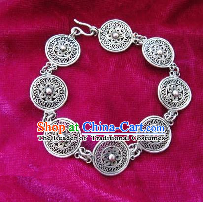 Chinese Miao Nationality Ornaments Traditional Hmong Handmade Filigree Sliver Bracelet for Women