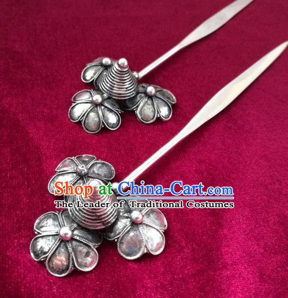 Chinese Traditional Miao Nationality Hair Accessories Hanfu Sliver Flowers Hairpins for Women