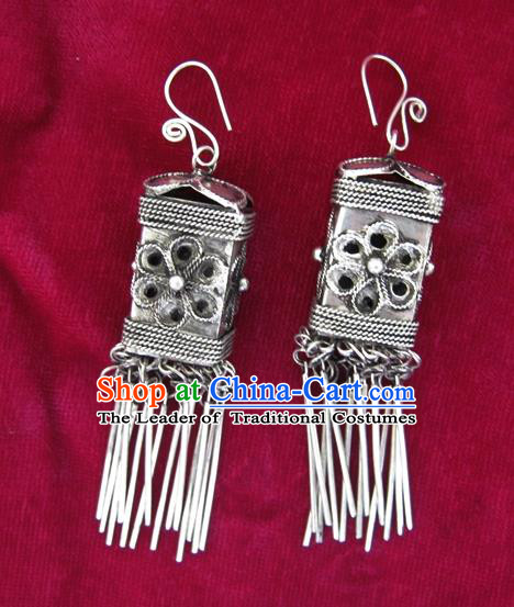 Chinese Handmade Miao Nationality Jewelry Accessories Hmong Sliver Earrings for Women