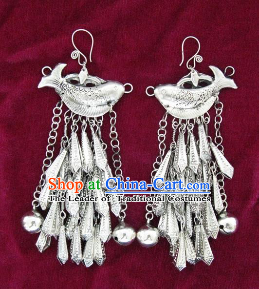 Chinese Handmade Miao Nationality Jewelry Accessories Hmong Sliver Fish Earrings for Women