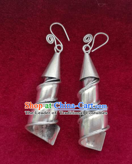 Chinese Handmade Miao Nationality Jewelry Accessories Hmong Bride Sliver Earrings for Women