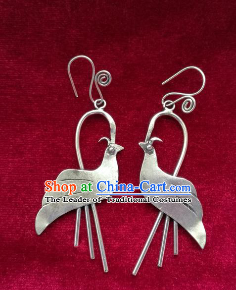 Chinese Handmade Miao Nationality Jewelry Accessories Hmong Bride Sliver Bird Earrings for Women