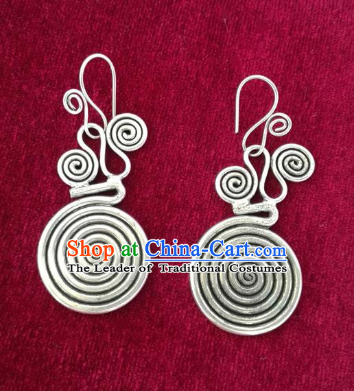 Chinese Handmade Miao Nationality Eardrop Jewelry Accessories Hmong Sliver Earrings for Women