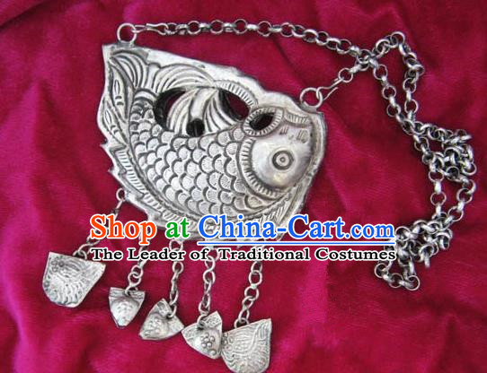 Chinese Miao Nationality Ornaments Sliver Fish Necklace Traditional Hmong Handmade Longevity Lock for Women