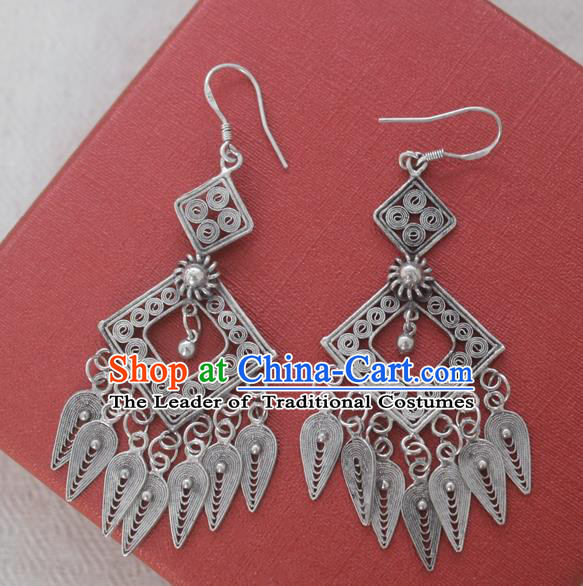 Chinese Handmade Miao Nationality Tassel Eardrop Jewelry Accessories Hmong Sliver Earrings for Women