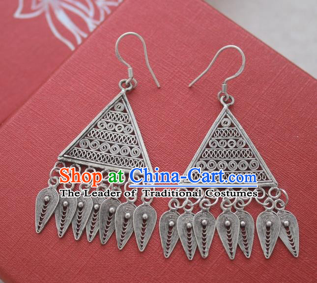 Chinese Handmade Miao Nationality Eardrop Jewelry Accessories Hmong Sliver Tassel Earrings for Women