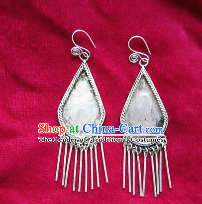 Chinese Handmade Miao Sliver Eardrop Hmong Nationality Tassel Earrings for Women