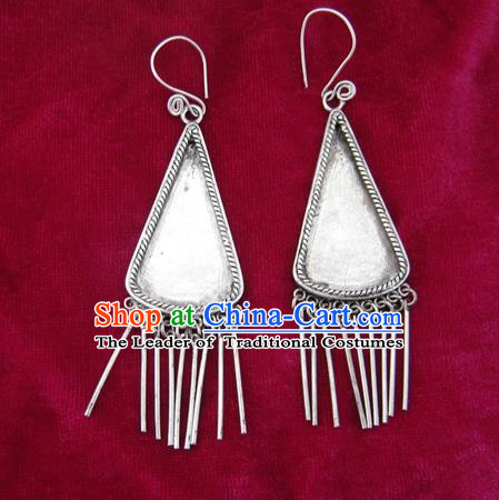 Chinese Handmade Miao Sliver Triangle Eardrop Hmong Nationality Tassel Earrings for Women