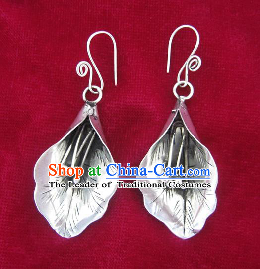 Chinese Handmade Miao Sliver Lily Flower Eardrop Hmong Nationality Earrings for Women