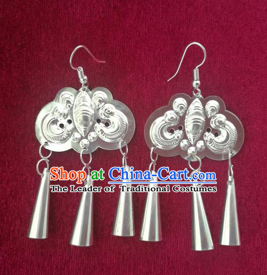 Chinese Handmade Miao Sliver Exaggerated Eardrop Hmong Nationality Butterfly Earrings for Women