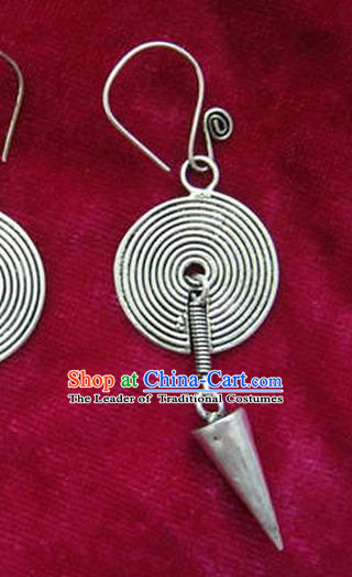 Chinese Handmade Miao Sliver Eardrop Hmong Nationality Earrings for Women