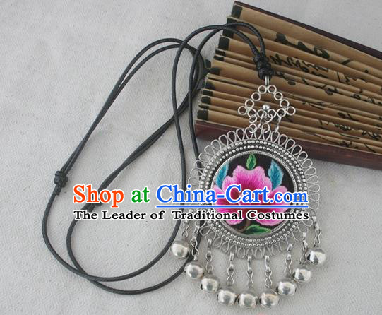 Chinese Miao Sliver Ornaments Embroidered Pink Peony Necklace Hmong Handmade Necklet Pendant for Women