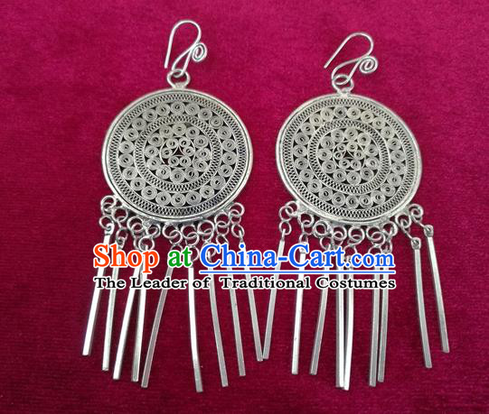 Chinese Handmade Miao Sliver Tassel Eardrop Hmong Nationality Earrings for Women