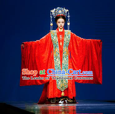 Chinese Ancient Ming Dynasty Empress Wedding Embroidered Costumes and Headpiece Complete Set